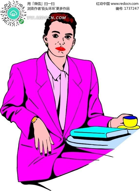 卡通画坐着喝咖啡的白领女士图片