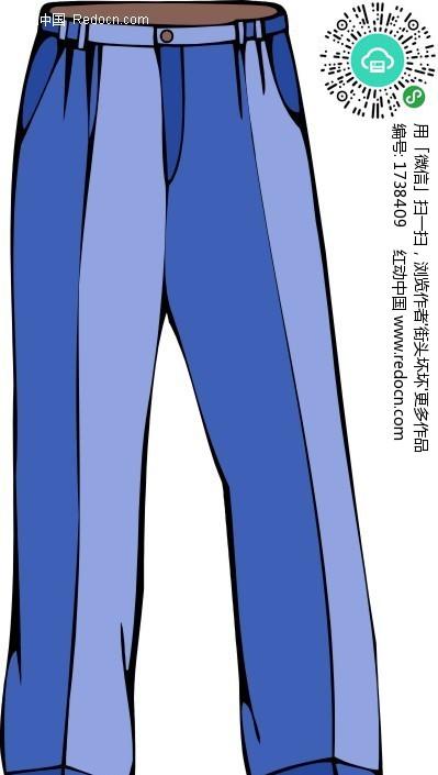 一条蓝色长裤插画图片