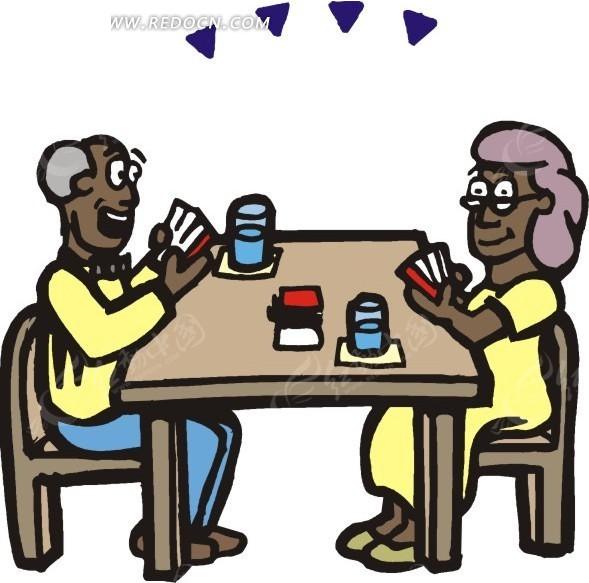 卡通男性男人女性女人爷爷奶奶桌子椅子免费下载生活