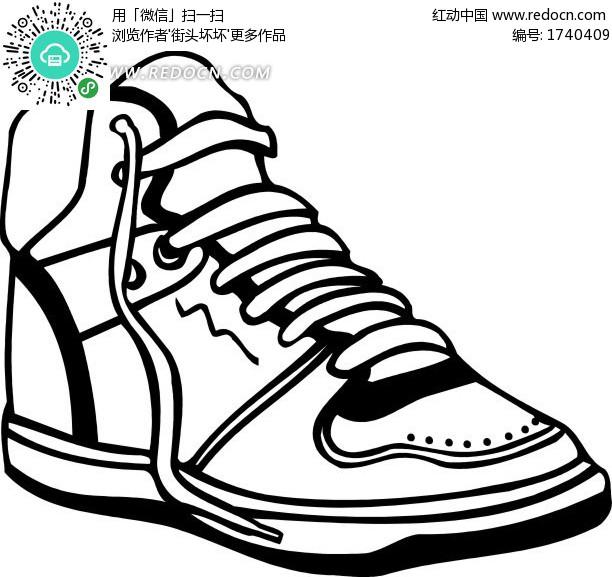 手绘黑白篮球鞋