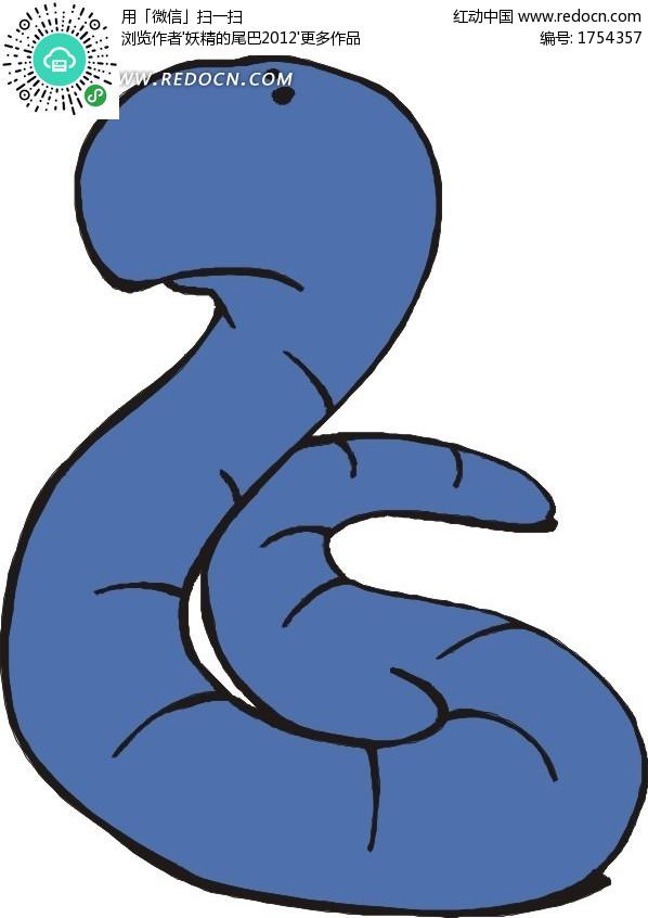 蓝色的虫子卡通画设计图片