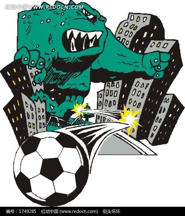 关键词 足球怪兽城市体育运动卡通画