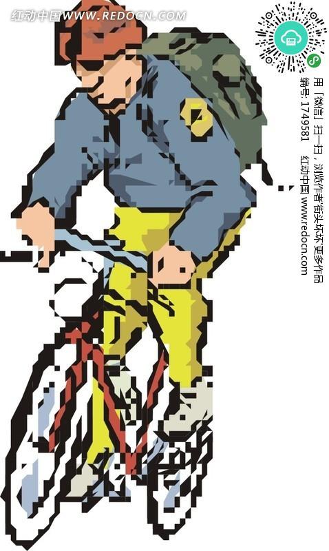 骑自行车的卡通人物图片
