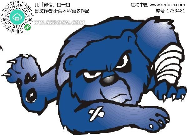 受伤的熊卡通画