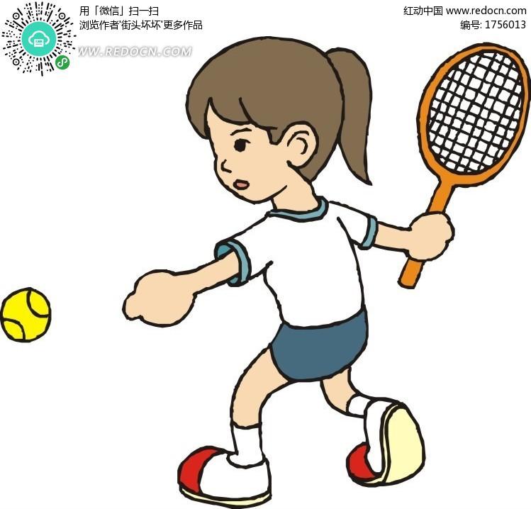 打网球_打网球的女性插画矢量矢量图编号1756013_