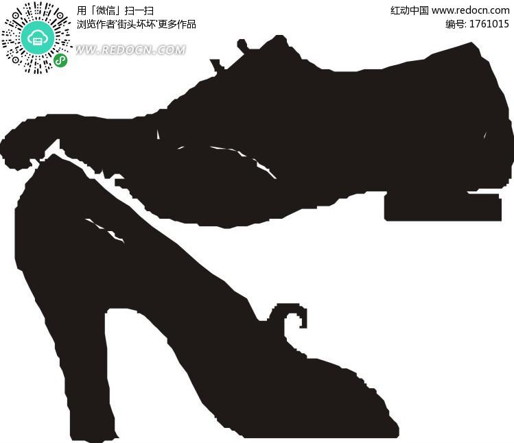 高跟黑色皮鞋和男士鞋设计图片