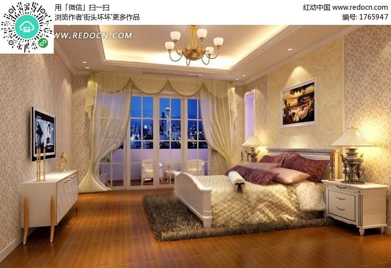 现代欧式风格的客厅效果图3d模型 max 3d模型下载 3d模型高清图片