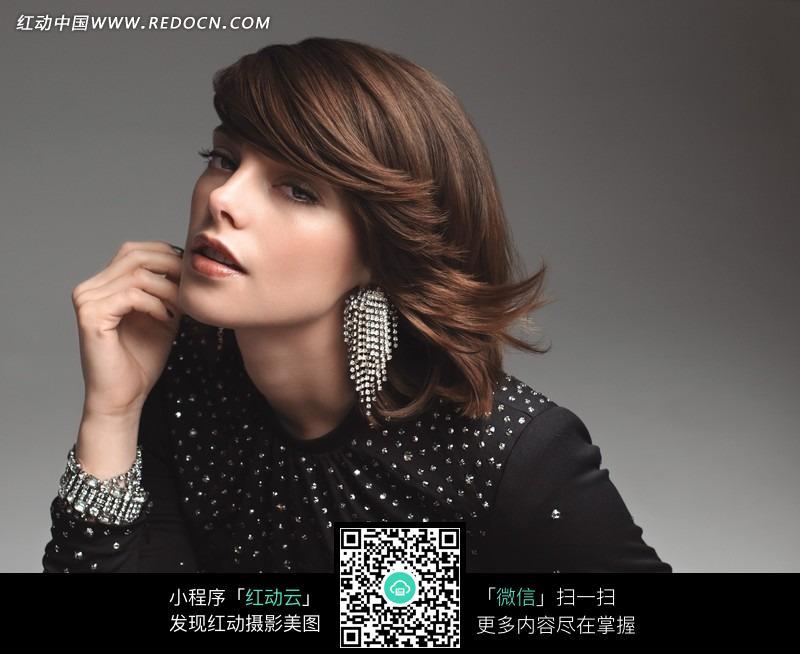 优雅的外国短发美女图片 人物图片素材|图片库|图库