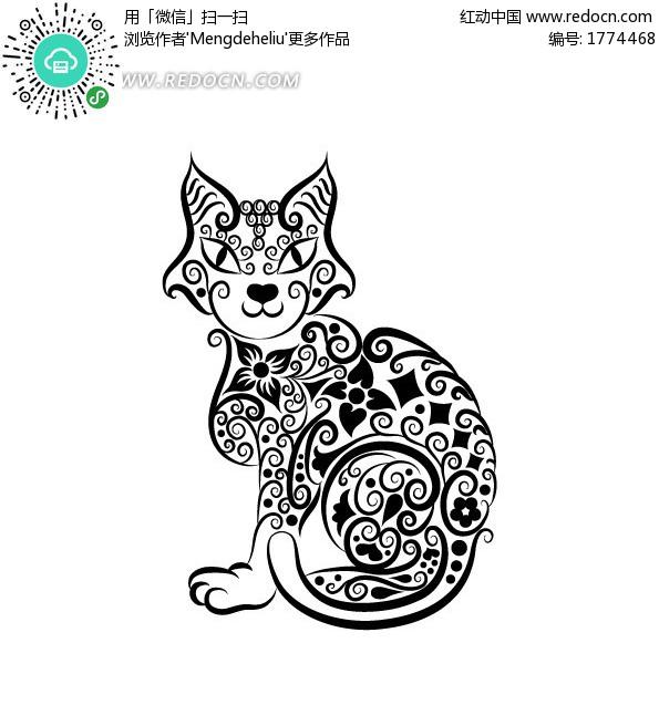 卡通猫图案 手绘卡通猫 小猫咪 动物卡通图案 绘画
