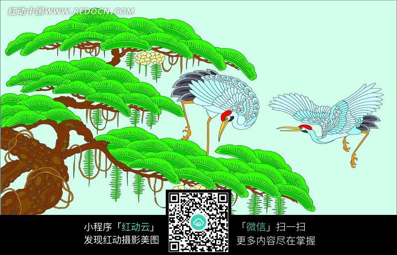 卡通手绘线条松鹤图插画图片设计图片