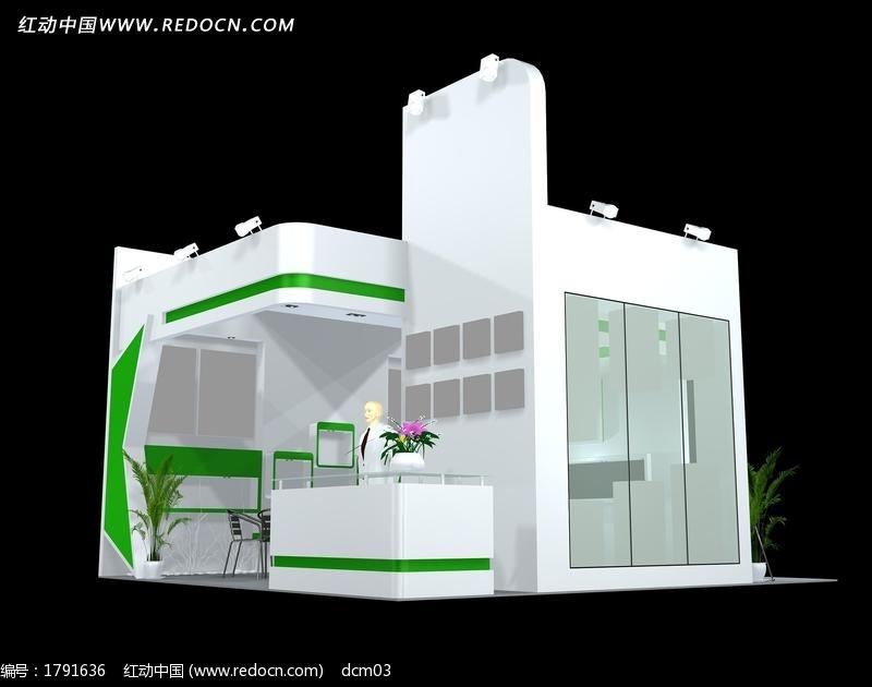 a学府学府自然化妆品绿色max模型模板下载(编秦皇岛嘉园展厅装修设计图图片