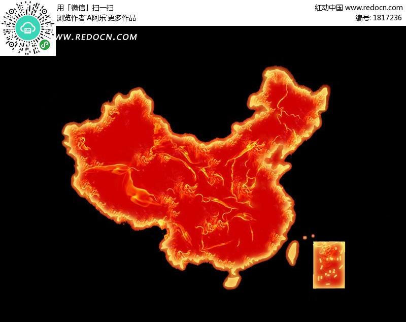 红色中国地图设计图片