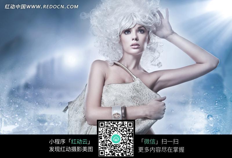 挎包的时尚白发美女图片图片编号:1830518