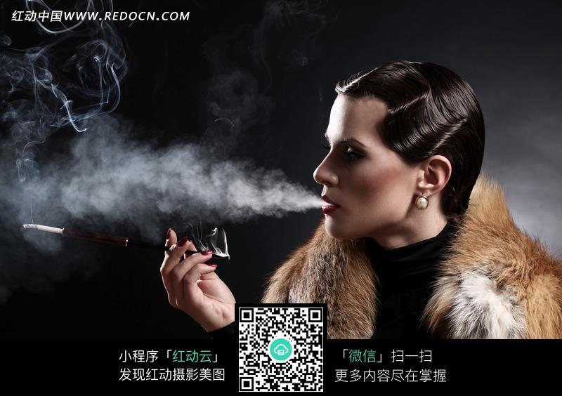 用加长烟嘴抽烟的知性美女图片编号:1831590